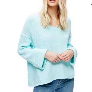 FREE PEOPLE NWT Mint Green Cotton Ribbed Sweater